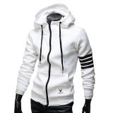 Spesifikasi Pria Pagar Panjang Lengan Bergaris Garis Jahitan Saku Sweater On Besar Olahraga Sweatshirts Putih Lengkap
