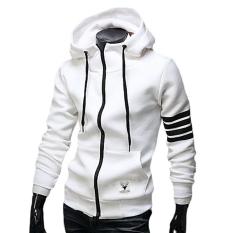 Beli Pria Pagar Panjang Lengan Bergaris Garis Jahitan Saku Sweater On Besar Olahraga Sweatshirts Putih