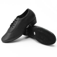 Cuci Gudang Pria Kid Boy Leather Mid Heel Latin Tango Sepatu Dansa Jazz Salsa Waltz Ballroom Intl