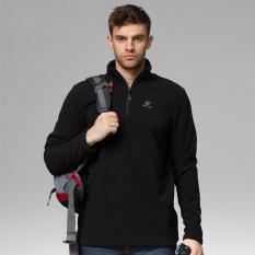 Luar Ruangan Kemeja sweater Pria Setengah Ritsleting Jaket Tahan Angin Lengan Baju Hangat Bulu Panjang Climbed Mt. Atasan Puncak Musim Dingin-Hitam