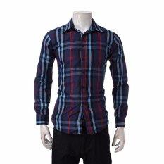Pria Kotak-kotak Kemeja Slim Breathable Long-Lengan Kemeja Batik Pria Lengan Panjang Casual Fashion Dress Shirt T-shirt Hom Ukuran 2 Warna (Navy) -Intl