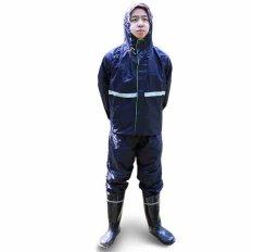 Jas Hujan Dewasa Pria Pita Reflektif Mengatur Perjalanan Lintas Alam Kolam Mantel Hujan (Biru Laut