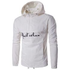 Toko Jaket Kasual Pria Fashion Letter Cetak Hooded Mantel Putih Intl Oem Tiongkok
