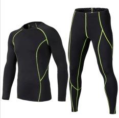 Spesifikasi Pria Senam Lengan Panjang Celana Baju Olahraga Kompresi Tights Pakaian Dan Celana Lengkap