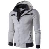 Beli Men S Sweatshirt Ritsleting Ganda Palsu Dua Olahraga Berkerudung Jaket Sweater On Abu Abu Muda Internasional Online