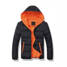 Harga Pria Mantel Musim Dingin Hangat Berkerudung Cotton Black Orange Intl Yg Bagus