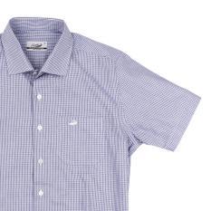 GOTA Navy - Men Shirt Kemeja Lengan Pendek Crocodile - Slim Fit - Bahan Katun 100% Cotton - KHUSUS PENJUALAN ONLINE