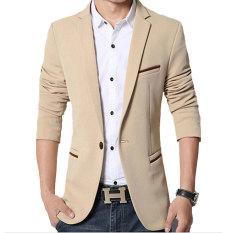 Spesifikasi Pria Slim Fit Fashion Cotton Blazer Suit Jacket Khaki Baru