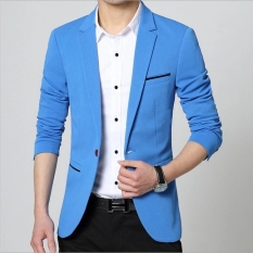 Pria Slim Fit Fashion Cocok Jaket Plus Ukuran M untuk 5XL Male Blazers Mens Mantel Kasual Blazers Mantel Bergaya (biru Muda) -Intl