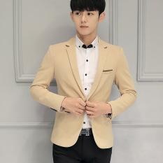 Harga Pria Ramping Pas Plus Ukuran Fashion Blazer Kasual Pria Formal Bisnis Blazers Mantel Khaki Murah