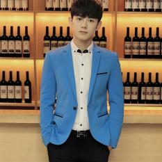 Dapatkan Segera Pria Ramping Pas Plus Ukuran Fashion Blazer Kasual Pria Formal Bisnis Blazers Mantel Biru Muda
