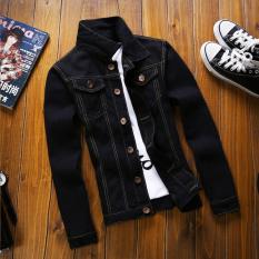 Beli Pria Slim Fit Musim Semi Musim Gugur Fashion Denim Jaket Mantel Hitam Intl Lengkap