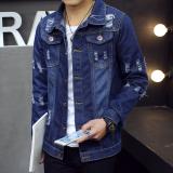 Pria Slim Fit Musim Semi Musim Gugur Fashion Denim Jaket Biru Dongker Lubang Intl Di Tiongkok