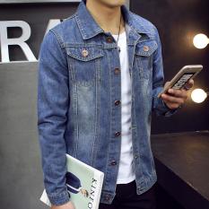 Pria Slim Fit Musim Semi Musim Gugur Fashion Denim Jaket Coat Biru Muda Intl Promo Beli 1 Gratis 1