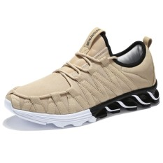 Pria Sneaker Menjalankan Sepatu Ringan Sneakers Bernapas Mesh Olahraga Sepatu Berjalan Atletik Sepatu-khaki-Intl
