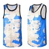 Diskon Pria Sport Dicetak Breathable Mesh Sleeveless Rompi Tank Top T Shirt Internasional Tiongkok