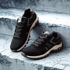 Jual Pria Olahraga Menjalankan Sneakers Hitam Dan Abu Abu Intl Baru