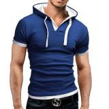 Toko Pria Musim Panas Fashion Hooded Sling Lengan Pendek Tee Tipis T Shirt Biru Intl Terdekat