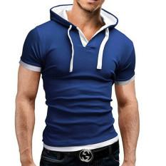 Promo Pria Musim Panas Fashion Hooded Sling Lengan Pendek Tee Tipis T Shirt Biru Intl Murah