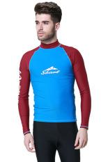 Beli Pria Swimwear Lengan Panjang Surfing Windsurf Pakaian Kemeja Rash Guard Tops Snorkeling Biru Intl Oem Murah