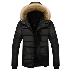 Pria Tebal Hangat Down Cotton Jaket Parka Bulu Musim Dingin Kerah Hooded Coat Outwear Hitam-Intl