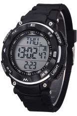 Promo Toko Pria Tahan Air Digital Alarm Chronograph Led Silicone Sport Wrist Watch Black Jam Tangan