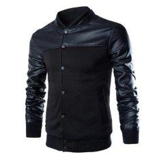 Penawaran Istimewa Pria Musim Dingin Kulit Kasual Lengan Jaket Pakaian Luar Hitam L Intl Terbaru