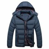 Harga Pria Musim Dingin Mantel Windproof Jaket Slim Pakaian Solid Penebalan Bulu Mantel Dake Biru Intl Podom Ori
