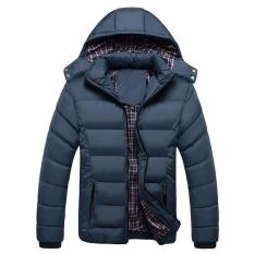 Pusat Jual Beli Pria Musim Dingin Mantel Windproof Jaket Slim Pakaian Solid Penebalan Bulu Mantel Dake Biru Intl Tiongkok
