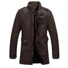 Pria Musim Dingin Tahan Angin Tahan Air Tebal Hangat Velvet Plus PU Kulit Jaket Outdoor Panjang Parka Mantel Coklat-Internasional