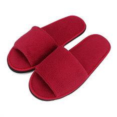 Jual Pria Wanita Karang Ujung Kaki Terbuka Beludru Wisata Spa Hotel Rumah Sandal Sepatu Tebal 7Mm Merah Internasional Oem Grosir