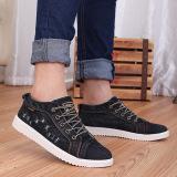 Ulasan Tentang Pria Wanita Denim Casual Canvas Cowboy Ankle Sepatu Fashion Unisex Flat Kanvas Sneakers Sepatu Kasual Tertekan Denim Sepatu Pecinta Canvas Sepatu Sepatu Hitam Intl