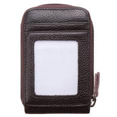 Pria Wanita Fashion Leather Mini Dompet IDENTITAS Pemegang Kartu Kredit Case Organizer Dompet Kopi