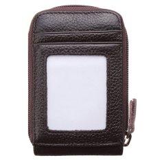 Pria Wanita Fashion Leather Mini Dompet IDENTITAS Pemegang Kartu Kredit CaseOrganizer Purse Coffee-Intl