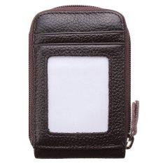Pria Wanita Fashion Leather Mini Dompet IDENTITAS Pemegang Kartu Kredit CaseOrganizer Purse Coffee (LUAR NEGERI)-Intl