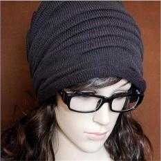 Men Women Knitting Slouchy Beanie Cap Baggy Winter Hat Oversize Unisex Chic Light Gray - intl