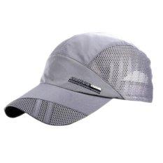 Spesifikasi Laki Laki Perempuan Kolam Sport Hat Baseball Cap Mesh Adjustable Running Visor Topi Dark Grey Online