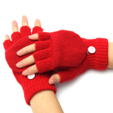 Ulasan Men Women Warm Fingerless Gloves Winter Warm Half Finger Flip Knitted Mittens Red Intl