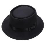 Jual Pria Wanita Wol Merasa Topi Fedora Bulat Diremukkannya Vintage Pendek Brim Topi Hitam Intl Tiongkok
