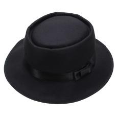 Pria wanita topi wol Fedora bulat yang bisa diremas Vintage pendek si topi laken topi bertepi hitam - Internasional