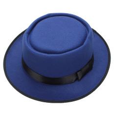 Pria Wanita Wol Merasa Topi Fedora Bulat Pendek Si Topi Laken Topi Vintage Diremukkannya With Pinggiran Biru-Internasional