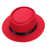 Spek Men Women Wool Felt Round Fedora Cap Crushable Porkpie Vintage Short Brim Hat Red Intl Oem