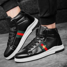 Spesifikasi Men S Bee Embroidery Shoes High Top Sneaker Fashion High Cut Shoes Embroidery Leather Sports Shoes Men Casual Shoes Intl Online