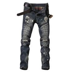 Pria Biker Jeans Tertekan Tipis Designer Vintage jeans Robek untuk Pria Runway Slim Hip Hop Denim Panjang Celana Gaya Rock Punk -Intl