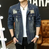 Promo Men S Denim Jaket Skinny Lubang Alami Vintage Jaket English Jeans Mantel Biru Not Specified