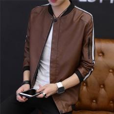 Men's Fashion Atletik Biasa Jaket Standare Outdoor Mantel Coklat-Internasional