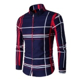 Spesifikasi Men S Fashion Shirt Digital Printing Plaid Long Sleeve Shirt Navy Blue Intl Terbaik