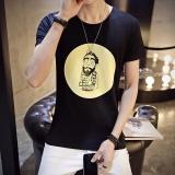 Spesifikasi Pendek Fesyen Pria Lengan Round Casual T Shirt Hitam Internasional Terbaik