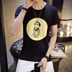 Diskon Pendek Fesyen Pria Lengan Round Casual T Shirt Hitam Internasional Branded