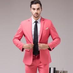 Men's Fashion Sesuai dengan Dua Buah Pengantin Pria Groommate Bisnis Suits-Intl